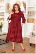 Червоне привабливе просторе плаття в клітинку великих розмірів