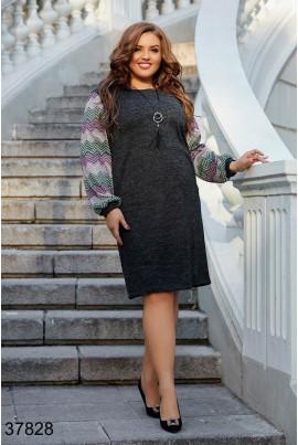 Сіре повсякденне тепле плаття великих розмірів