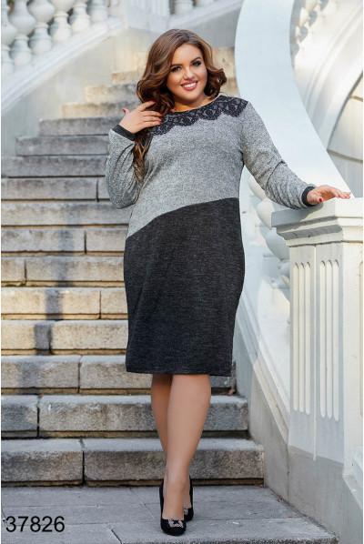 Чорно-сіре повсякденне плаття для жінок з пишними формами