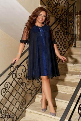Синє святкове плаття великих розмірів