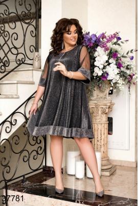 Темно-сіре вишукане гламурне плаття для повних жінок
