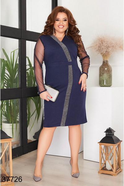 Синє розкішне ошатне плаття для жінок з пишними формами