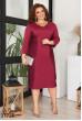 Бордове трикотажне плаття міді великих розмірів