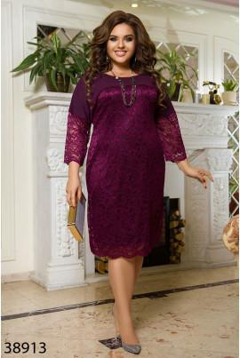 Нарядне бордове гіпюрове плаття для елегантних жінок