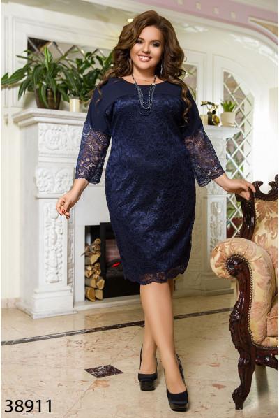 Темно-синє гіпюрове плаття для елегантних жінок