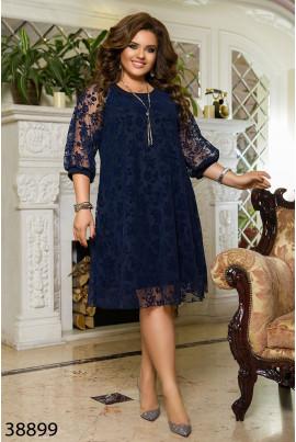 Темно-синє двошарове плаття а-силуету