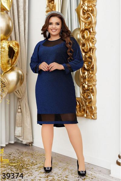 Синє жіночне сяюче плаття з люрексом