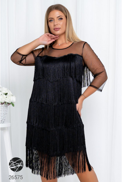 Чорне неперевершене коротке плаття для жінок з апетитними формами