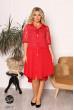 Червоне асиметричне плаття міді для повних жінок