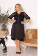 Чорне повсякденне плаття-рубашка для жінок з пишними формами