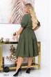 Розкішне жіночне плаття з ярусним дизвйном кольору хакі