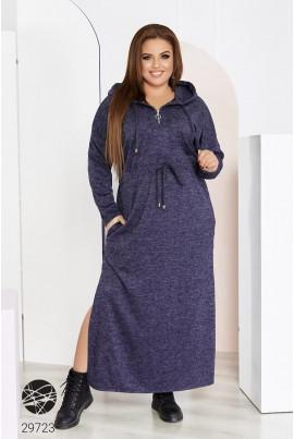 Синє ангорове довге плаття для повних жінок