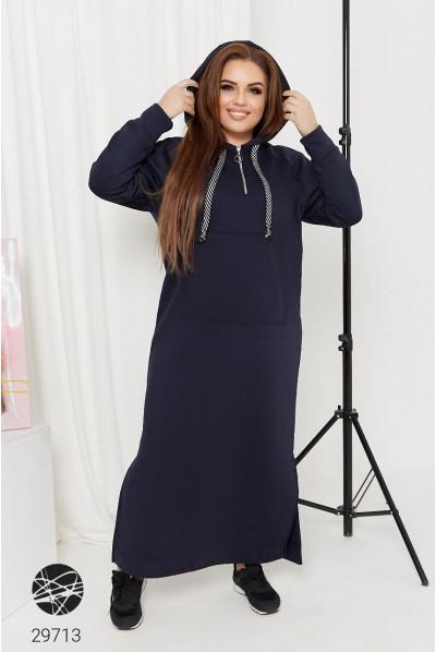 Синє оригінальне плаття-худі на флісі