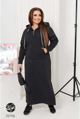 Темно-сіре тепле жіноче плаття з капюшоном