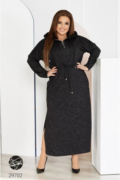Чорна ангорова сукня максі з капюшоном