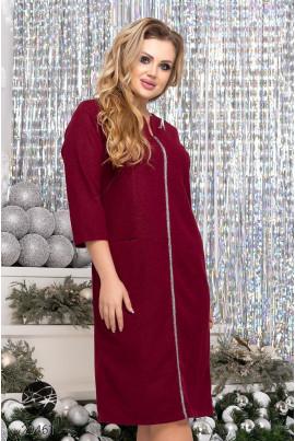 Бордове витончене плаття міді з кишенями