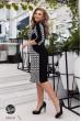 Чорне чудове плаття міді з принтом для жінок з пишними формами