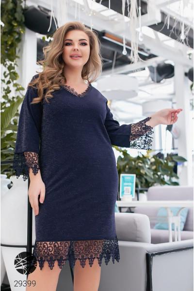 Синє вишукане жіноче плаття великих розмірів