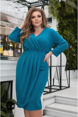 Бірюзове оригінальне плаття міді на кожен день