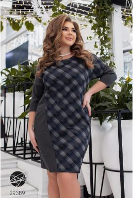 Темно-сіре клетчате плаття для жінок з апетитними формами