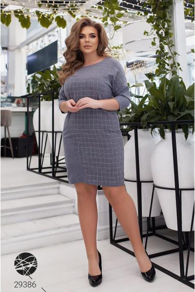 Сіре практичне клетчате плаття великих розмірів