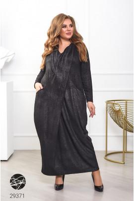 Чорне оригінальне плаття максі з кишенями