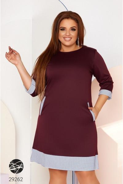 Бордове актуальне коротке плаття великих розмірів