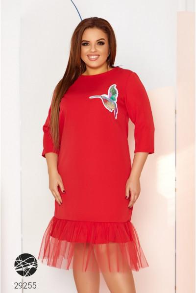 Червоне ошатне коротке плаття великих розмірів