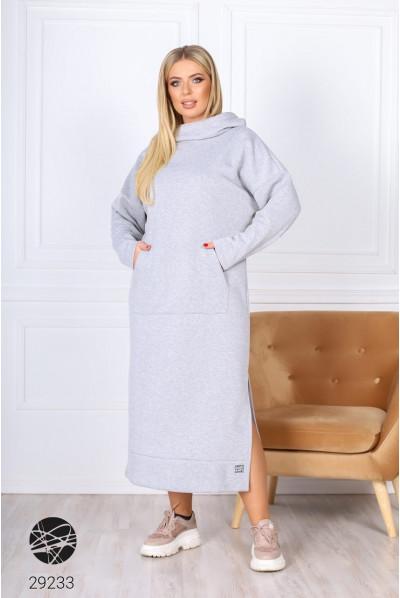 Сіре повсякденне довге плаття для повних жінок