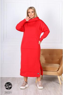 Червоне тепле прогулянкове плаття-худі великих розмірів