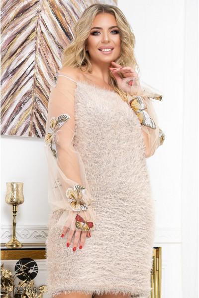 Бежеве ніжне плаття з рукавами з сітки для повних жінок