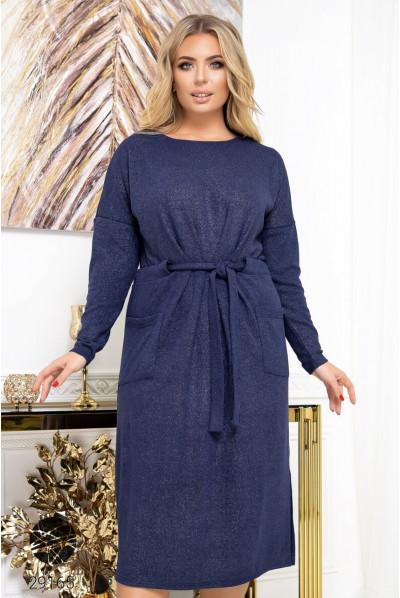 Синє жіноче плаття міді з накладними кишенями
