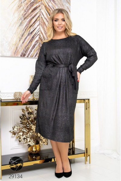 Чорне повсякденне плаття з люрексом для жінок з апетитними формами