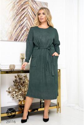 Зелене оригінальне ангорове плаття міді
