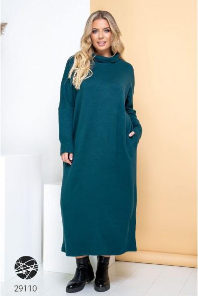 Бірюзова довга сукня максі з ангори для повних жінок