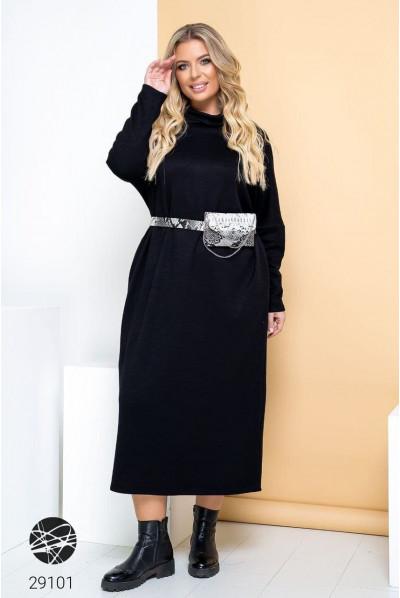 Чорне практичне плаття з коміром з відворотом