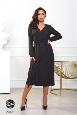 Чорна вишукана сукня міді з поясом