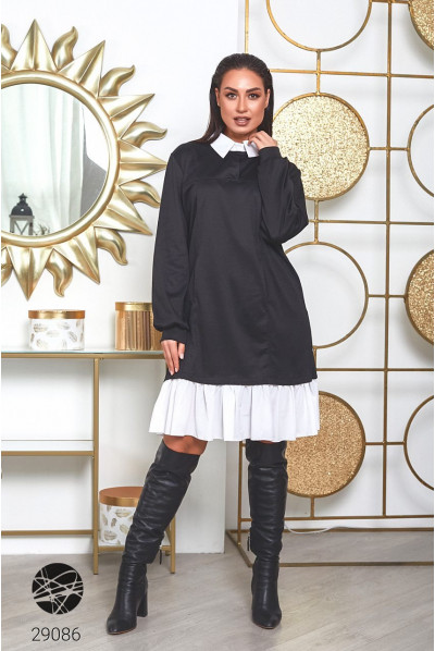 Чорно-біле стильне плаття-світшот з відкладним коміром