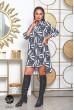 Сіре коротке асиметричне плаття-сорочка для жінок з пишними формами