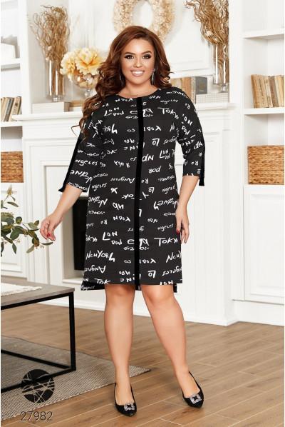Чорне універсальне жіноче плаття з принтом для повних жінок