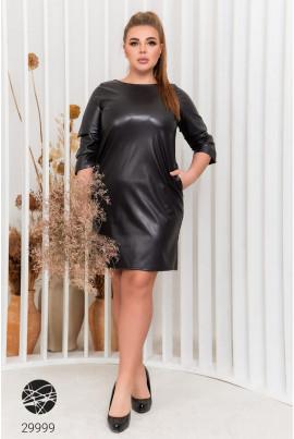 Чорне шкіряне плаття великих розмірів