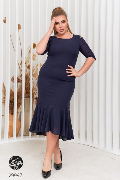 Синє дивовижне плаття міді для жінок з апетитними формами