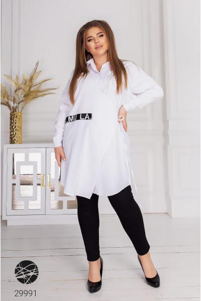 Біле гламурне плаття-рубашка з декоративною вишивкою