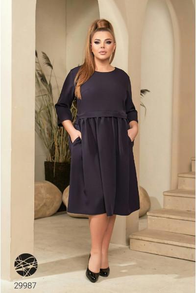 Синє універсальне жіноче плаття міді великих розмірів