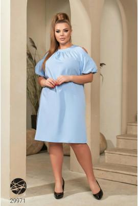 Блакитне чарівне ошатне плаття з кишенями