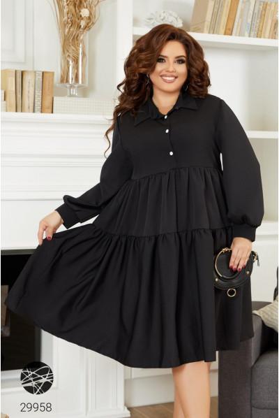 Чорне повітряне плаття міді великого розміру