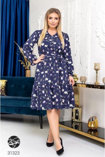 Синє привабливе плаття з принтом для повних жінок