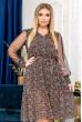 Коричнева повітряна сукня міді з шифону