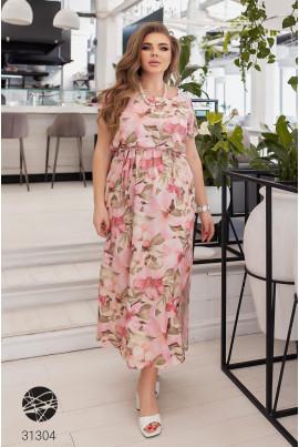 Рожева актуальна ошатна сукня максі для жінок з апетитними формами