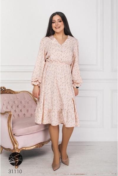 Рожева квіткова сукня з високим розрізом